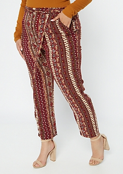 Plus Burgundy Border Print Tapered Belted Pants