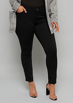 Plus Black Mid Rise Ponte Booty Pants