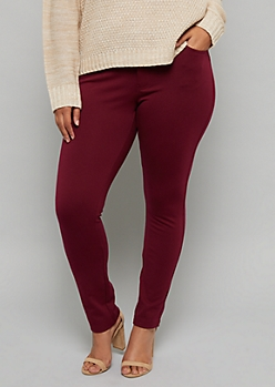 Plus Burgundy Mid Rise Ponte Booty Pants