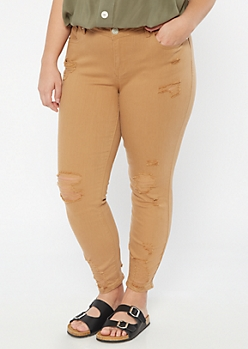 Plus Khaki Distressed Cuff Jeggings