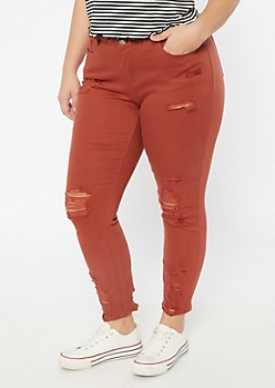 Plus Red Distressed Hem Jeggings