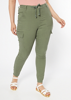 Plus Olive High Waisted Cargo Jeggings