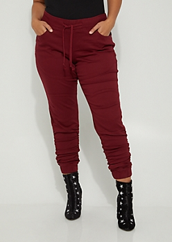 Plus Burgundy Moto Ruched Jeggings