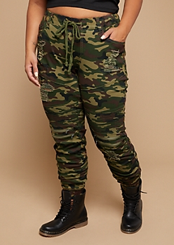 Plus Camo Print Distressed Drawstring Waist Moto Skinny Pants
