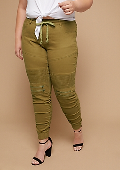 Plus Camel Twill Drawstring Waist Zipper Moto Skinny Pants