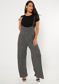 Plus Black Striped Pinafore Jumpsuit