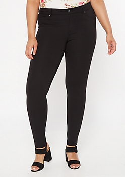Plus Black High Rise Pull On Ponte Pants