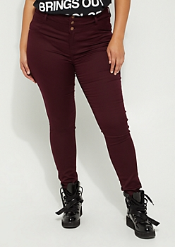 Plus Burgundy High Waisted Button Front Skinny Pants