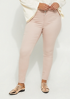 Plus Pink High Waisted Button Front Skinny Pants