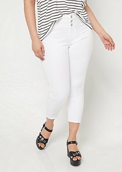 Plus White High Waisted Cropped Jeans