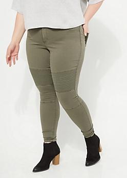 Plus Olive Skinny Moto Pants