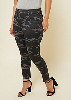 Plus Camo Print Skinny Triple Button Ankle Jeans