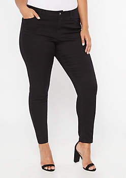 Plus Black High Waisted Skinny Booty Jeans