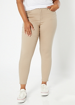 Plus Khaki High Waisted Skinny Booty Jeans