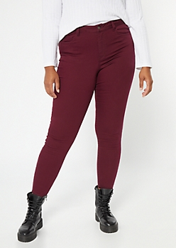Plus Burgundy High Waisted Skinny Booty Jeans