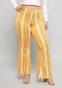 Plus Mustard Striped Super Soft Boho Mid Rise Flare Pants
