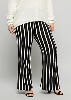Plus Black Striped Super Soft Mid Rise Flare Pants