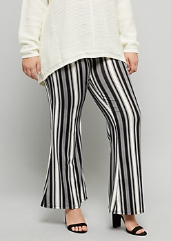 Plus Black Striped Super Soft Boho Mid Rise Flare Pants