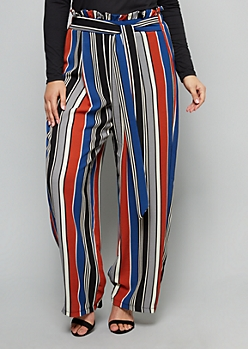Plus Blue Striped Paperbag Extra High Waisted Wide Leg Pants