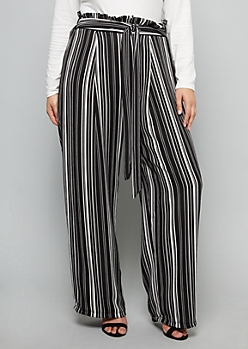 Plus Black Striped Paperbag Extra High Waisted Wide Leg Pants