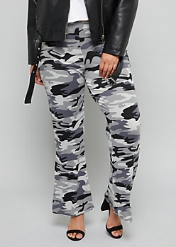 Plus Gray Camo Print Soft Flare Pants