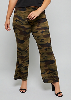 Plus Camo Print Soft Flare Pants