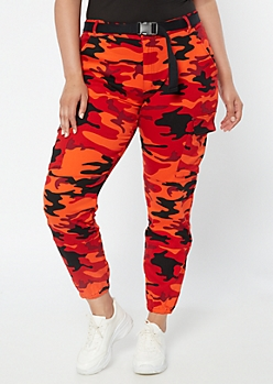 Plus Red Fox Red Camo Print Cargo Joggers