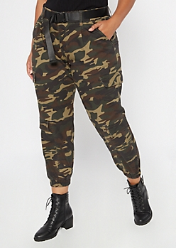 Plus Camo Print Belted Cargo Pants