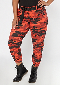 Plus Red Camo Print Belted Cargo Pants