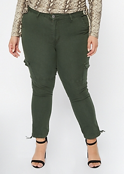 Plus Olive Bungee Ankle Mid Rise Cargo Joggers