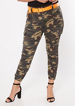 Plus Camo Print Cargo Twill Stretch Pants