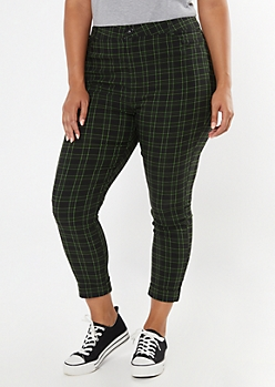 Plus Black Plaid Cuffed Skinny Pants