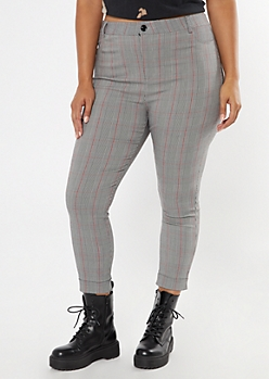 Plus Gray Plaid Cuffed Skinny Pants