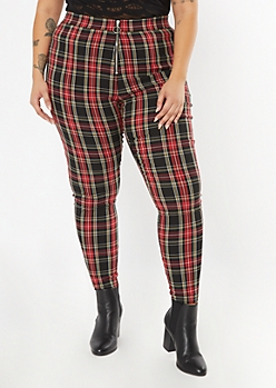 Plus Red Plaid O Ring Flare Pants