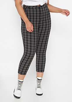 Plus Black Plaid Print Elastic Waist Stretch Pants