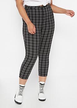 Plus Black Plaid Print Elastic Waist Stretch Pants