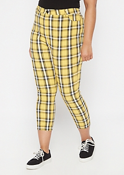 Plus Yellow Plaid Print Elastic Waist Stretch Pants