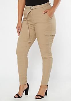 Plus Khaki Cargo Belted Pants