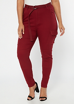 Plus Burgundy Cargo Belted Pants