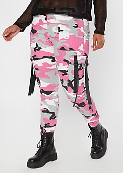 Plus Pink Camo Print Nylon Tie Cargo Pants