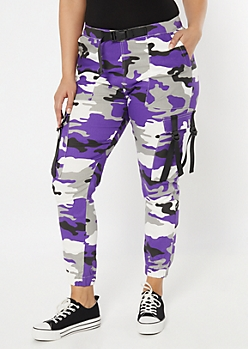 Plus Purple Camo Print Utility Belt Cargo Pants