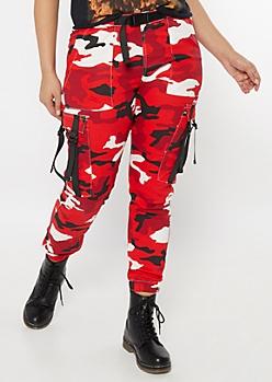 Plus Red Camo Print Utility Belt Cargo Pants