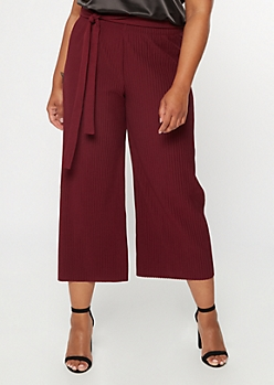 Plus Burgundy Pleated Tie Waist Gaucho Pants