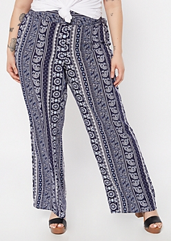 Plus Navy Border Print Flare Pants