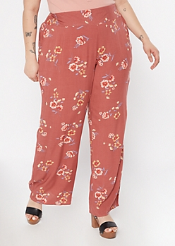Plus Burnt Orange Floral Print Flare Pants