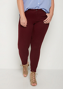 Plus Burgundy Soft Mid Rise Jeggings