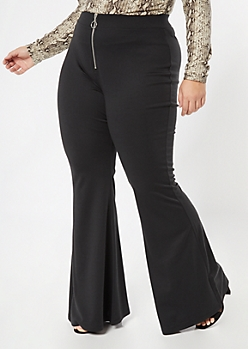 Plus Black O Ring Flare Pants