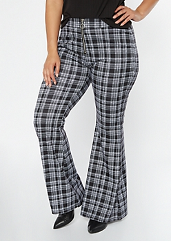 Plus Black Plaid O Ring Flare Pants