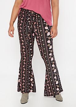 Plus Black Paisley Floral Print Waist Tie Flare Pants