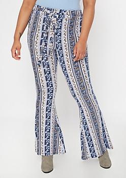 Plus Blue Paisley Floral Print Waist Tie Flare Pants